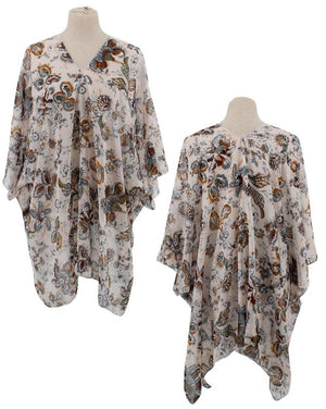 Floral Sheer Poncho