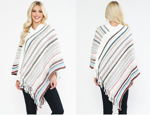 MULTI COLORED STRIPE FALL PONCHO - 50304