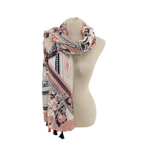Multi Pattern Scarf with Tassels