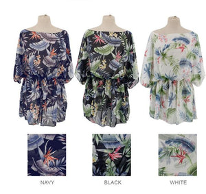 Cinch Waist Sheer Tropical Print Poncho