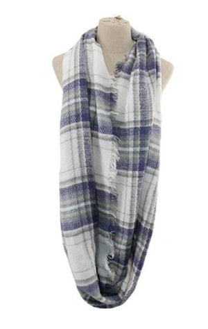 Frayed Plaid Infinity Scarf