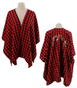 Red Plaid Ruana