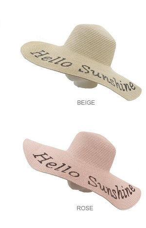Wide-Brimmed Floppy 'Hello Sunshine' Hat