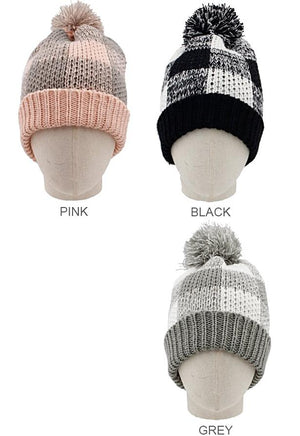 Knit Plaid Beanie with PomPom
