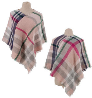 Kid's Multi Plaid Poncho
