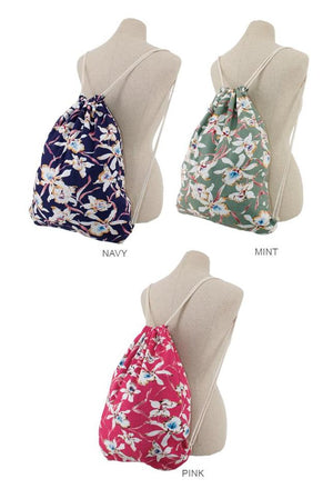 Tropical Floral Print Pull String Backpack