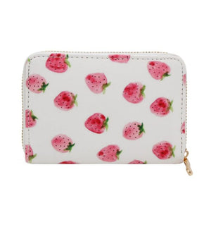 Watercolor Strawberry Mini Wallet