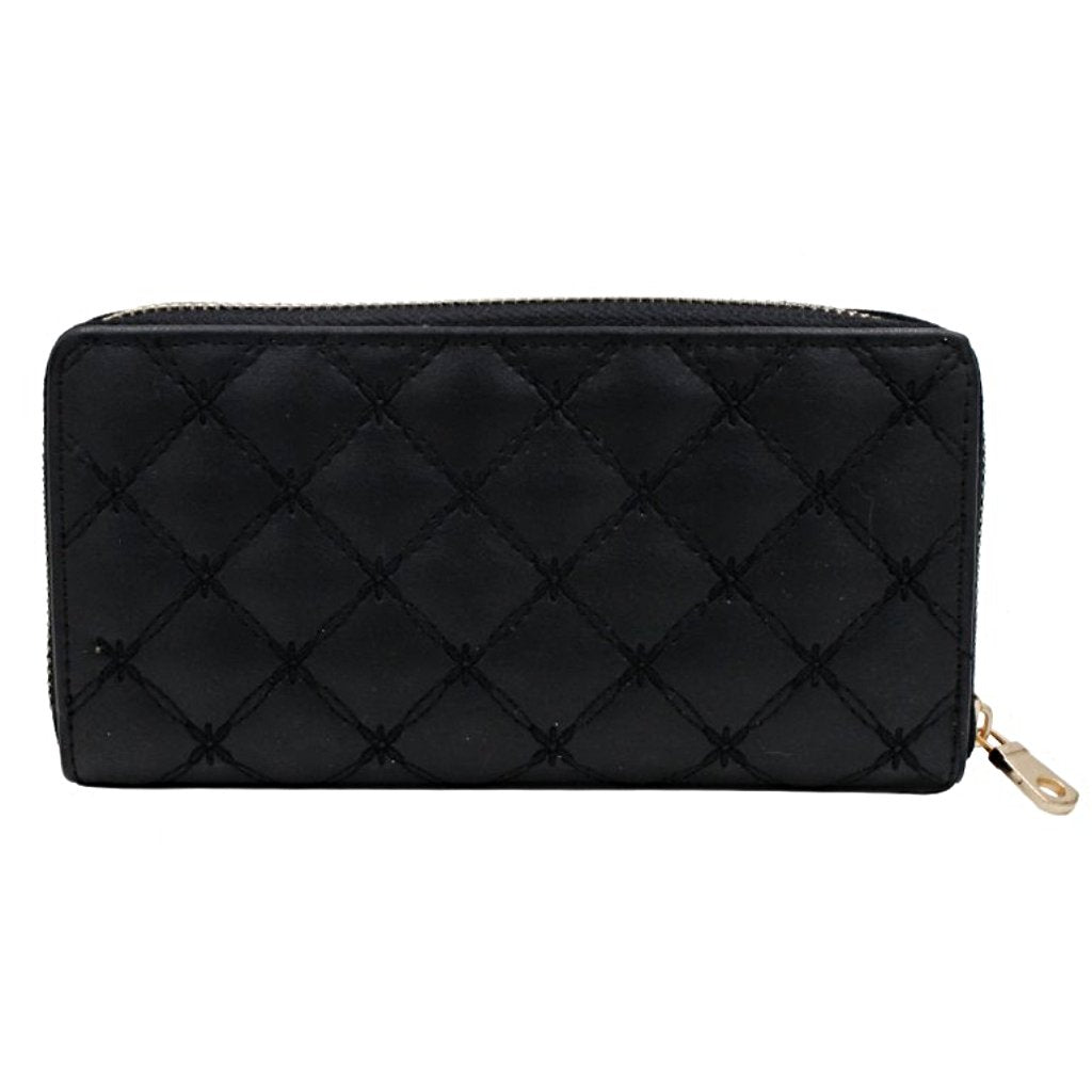 Quilted Diamond Pattern Wallet