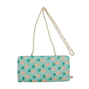 Pineapple Print Wallet with Strap