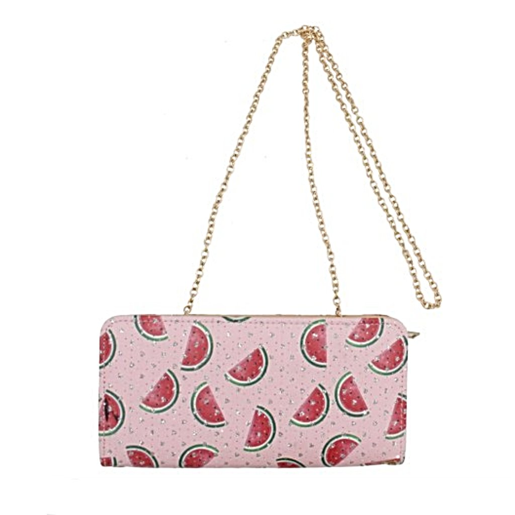 Watermelon Print Wallet with Strap
