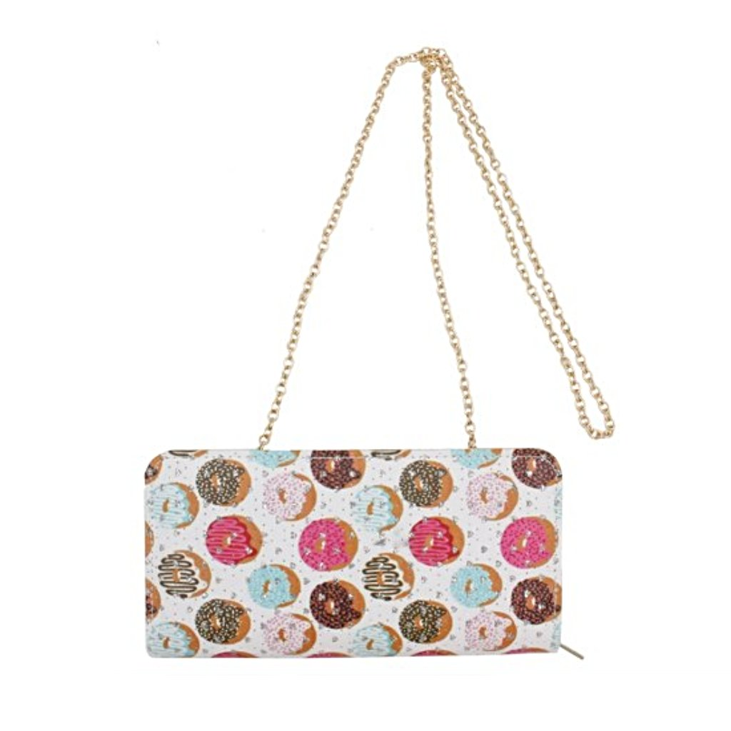 Donut Print Wallet with Strap