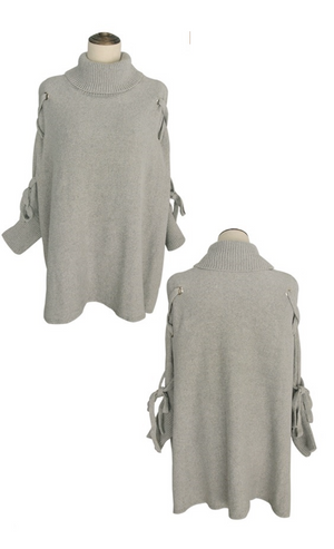 Lace-Up Sleeves Poncho