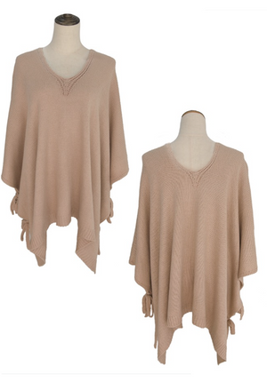 Knotted Sleeves Poncho