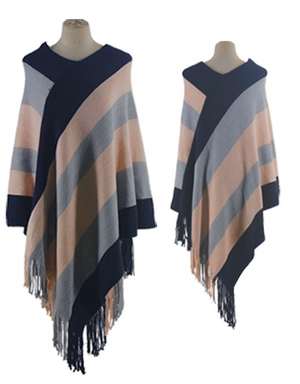 Asymmetrical Striped Poncho