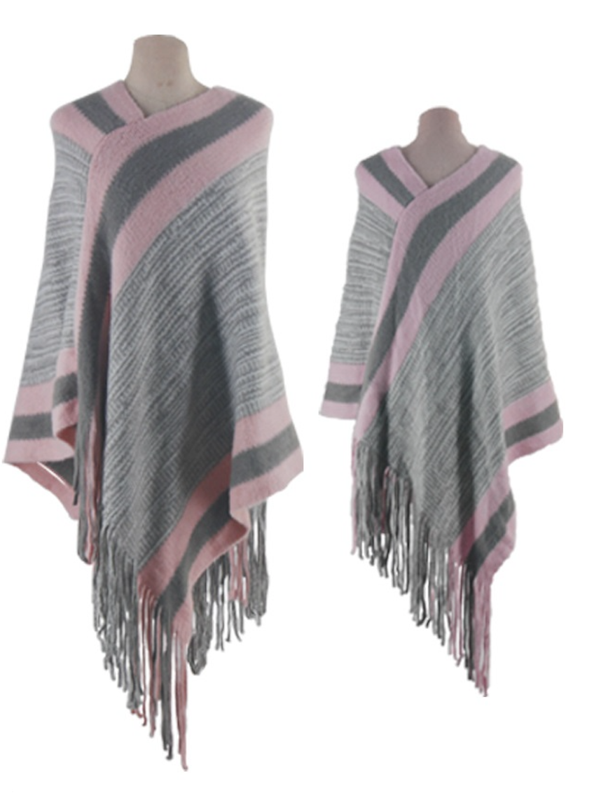 Asymmetrical Fringed Poncho