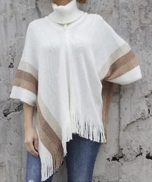 Fringe Turtleneck Poncho