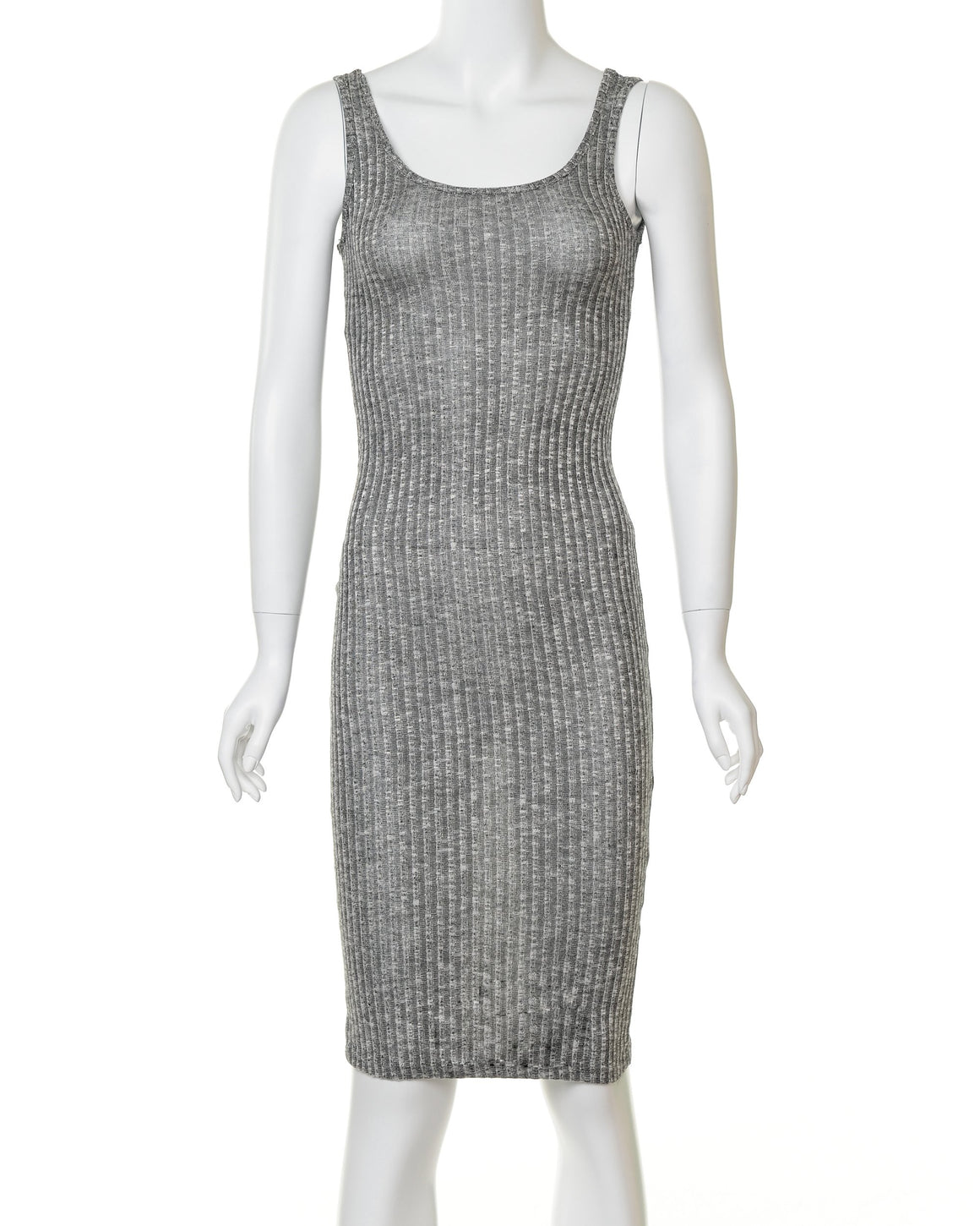 Grey Ribbed Knit Bodycon Midi Dress