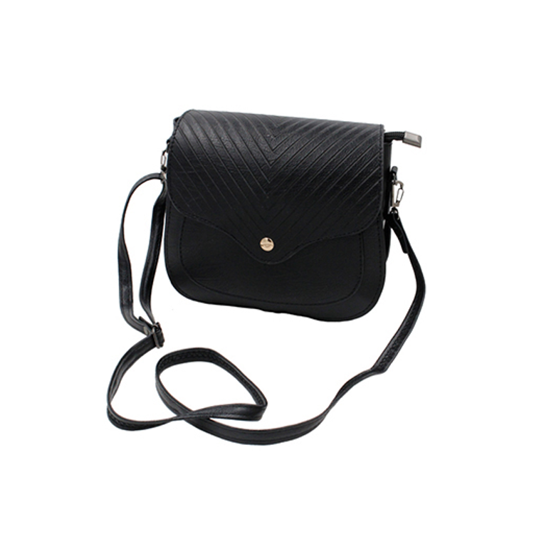 Faux Leather Ribbed Crossbody Bag