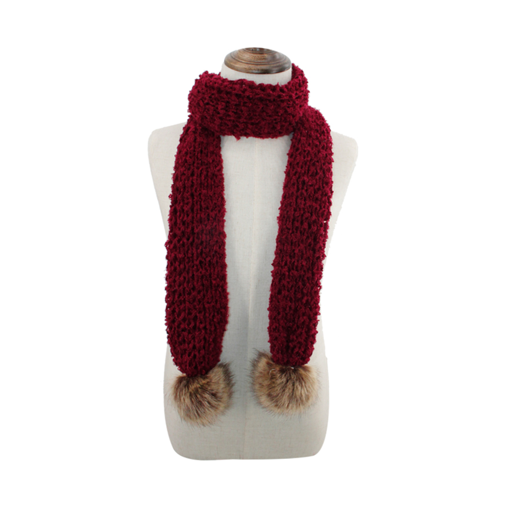 Kid's Open Knit Scarf with PomPoms