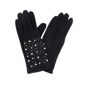 Pearl and Rhinestone Studded Gloves