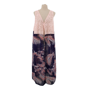Feather Print Vest with Lace Top