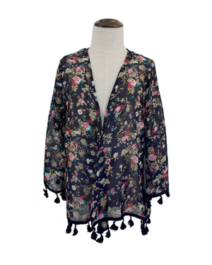 Kid's Floral Kimono with Tassels