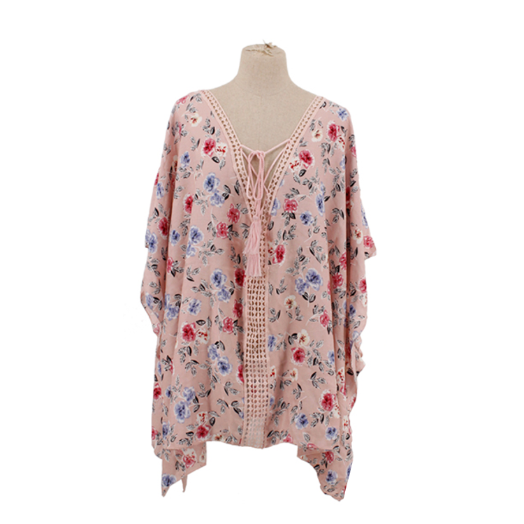 Floral Tassel Knot Poncho