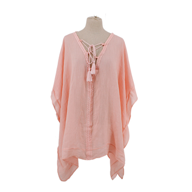 Poncho with Crochet Trim Lace-up Front