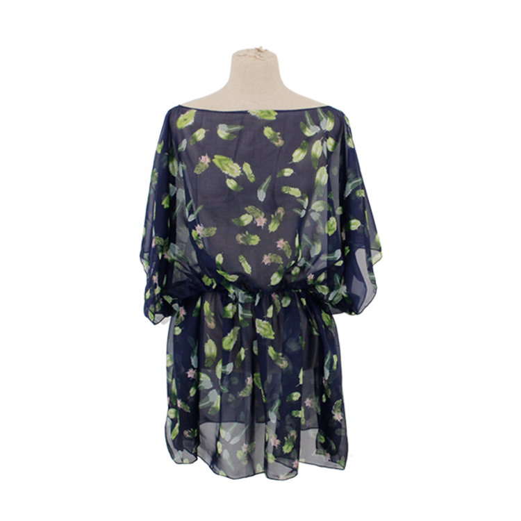 Cinch Waist Sheer Floral Poncho