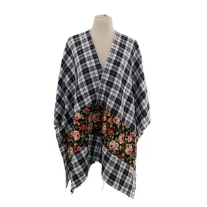 Plaid with Flower Pattern Ruana