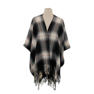 Wide Plaid Ruana