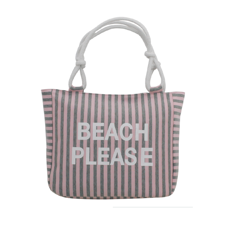 Beach Please Striped Tote Bag