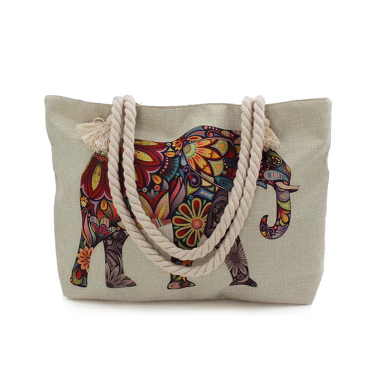 Stained Glass Elephant Printed Canvas Bag