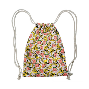 Printed Woven Pull String Backpack
