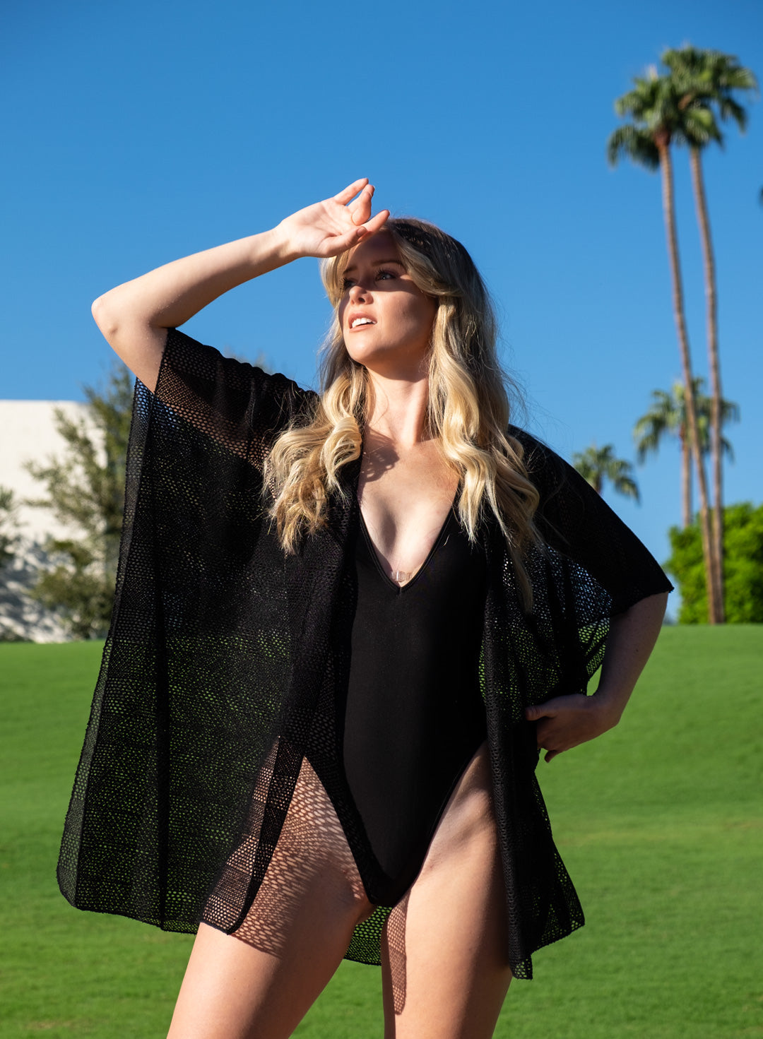 Black Mesh Swimwear Coverup