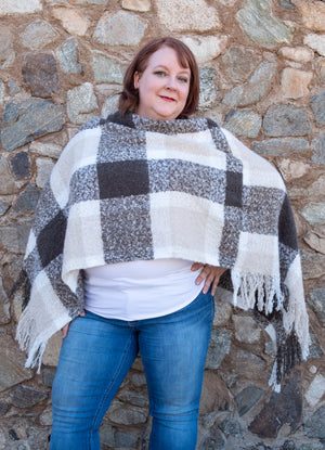 Grey and camel check poncho