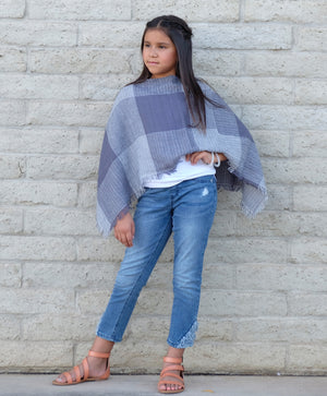 Kid's Fall Checkered Poncho