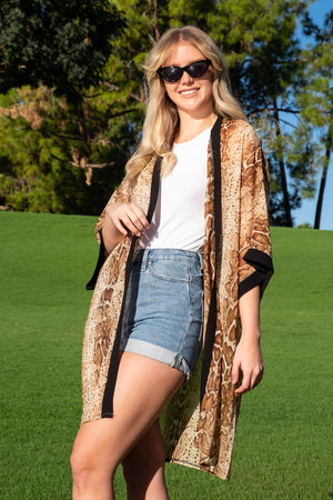 Brown Animal Print Sheer Coverup