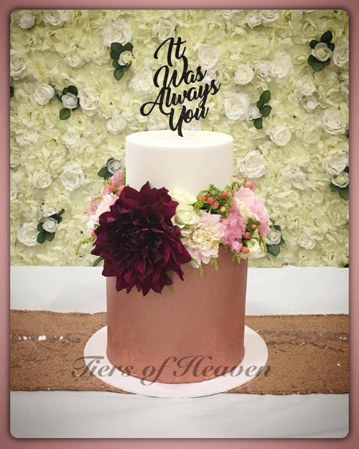 Engagement Cake with Flowers and Topper