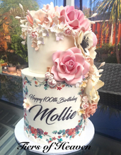Load image into Gallery viewer, 100th Birthday Cake with Sugar Flowers