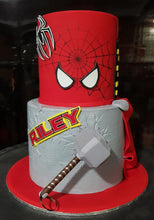 Load image into Gallery viewer, marvel avengers birthday cake spiderman thor mjolnir