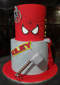 marvel avengers birthday cake spiderman thor mjolnir