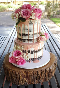 2 tier naked cake flowers pink drip