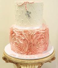 Load image into Gallery viewer, pink rose ruffle christening cake silver cross