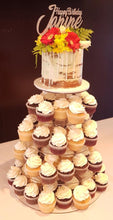 Load image into Gallery viewer, naked birthday cake with cupcakes flowers wooden topper