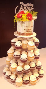 naked birthday cake with cupcakes flowers wooden topper