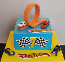 Load image into Gallery viewer, Hot Wheels loop birthday cake