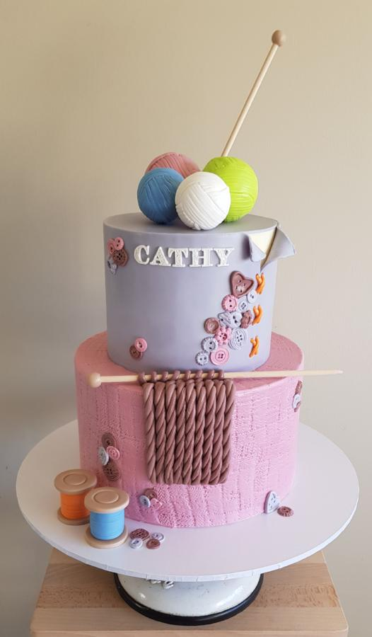 Load Image Into Gallery Viewer Sewing Bee Birthday Cake Yarn Knitting Thread Buttons Crochet