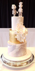 3 tier wedding cake marble base gold sugar flower custom cake topper