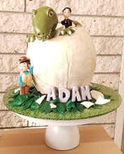 Load image into Gallery viewer, andys dinosaur adventures egg birthday cake trex